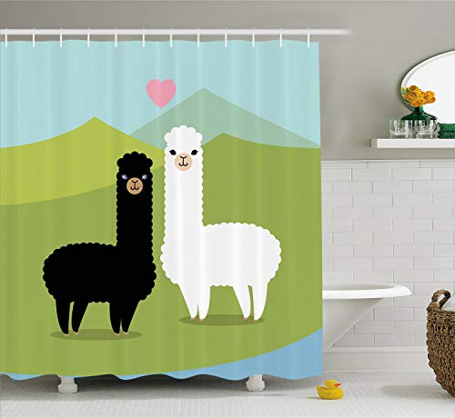 Ambesonne Llama Shower Curtain, Alpacas in Love in The Mountains Fauna Valentine's Animals with Contrasting Colors, Cloth Fabric Bathroom Decor Set with Hooks, 70 Inches, Green Blue -