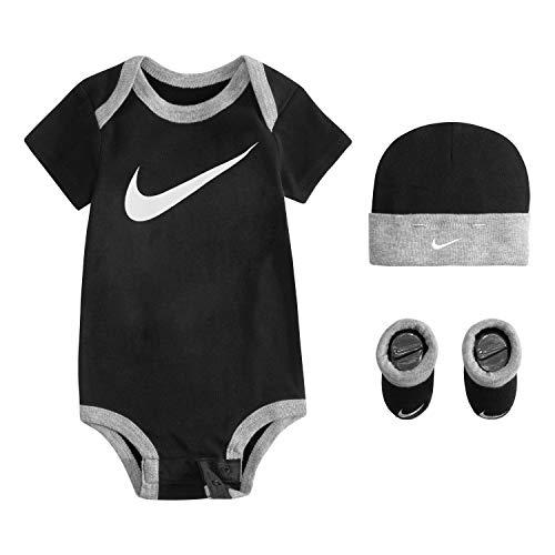 NIKE Children's Apparel Baby Hat, Bodysuit and Bootie Three Piece Set, black Swoosh, 0/6M (Set Jordan Piece 3 Infant)
