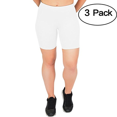 - Stretch is Comfort Women's Cotton Biker Shorts Set of 3 Pieces White X-Large