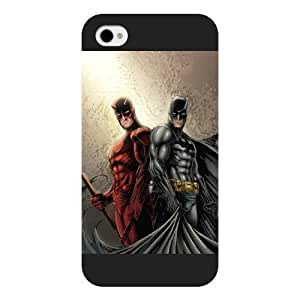 UniqueBox Customized Marvel Series Case for iPhone 4 4S, Marvel Comic Hero Daredevil iPhone 4 4S Case, Only Fit for Apple iPhone 4 4S (Black Frosted Case)