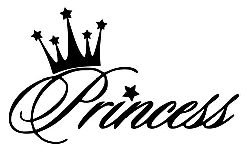 UR Impressions MBlk Princess Crown Decal Vinyl Sticker Graphics for Cars Trucks SUV Vans Walls Windows Laptop|Matte Black|5.6 X 3.6 Inch|URI281-MB