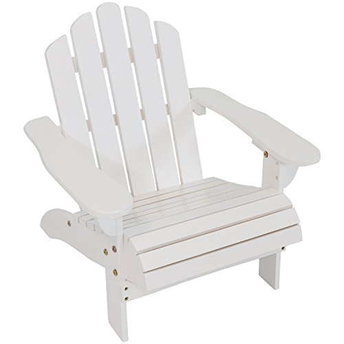 Sunnydaze Toddler Classic Wooden Adirondack Chair with Non-Toxic Paint Finish, Fits Most Children Under 3 Feet Tall, White by Sunnydaze Decor