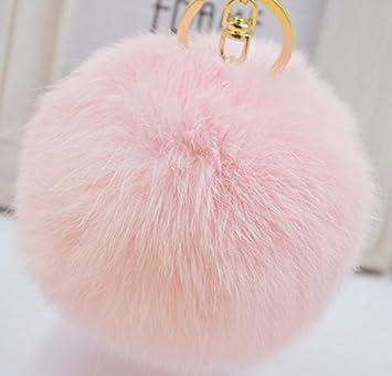 dc580033306c Amazon.com   Wish Novelty Pink Furry Fuzzy Pom Pom Keychain Balls - Jumbo 6  in - Cute Backpack