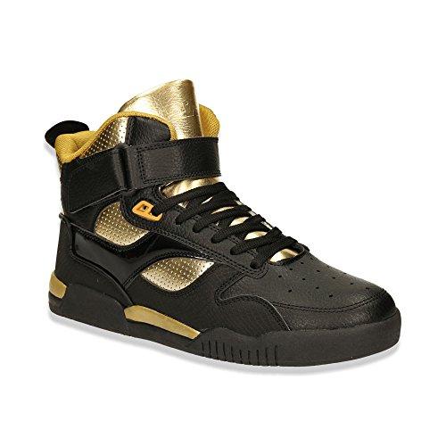 Herren High Top Sneaker Sportschuhe Basketball Freizeit Schuhe Schwarz/Gold EU 43