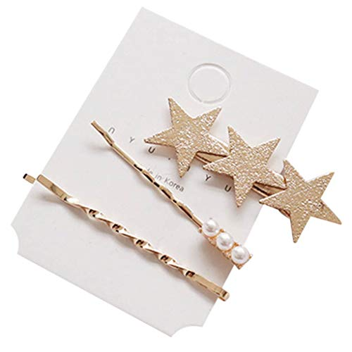 1 Set Women Girl Korean Vintage Bobby Pins Glitter Polished Geometric Button Hairpins Star Heart Triangle Shape Bangs Hair Clips By Shaoge