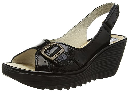 Fly London WoMen Yaga Leather Sandals Black