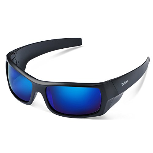Duduma Tr601 Polarized Sports Sunglasses for Baseball Cycling Fishing Golf Superlight Frame (139 Black matte frame with blue - Fake Oakley Sunglasses