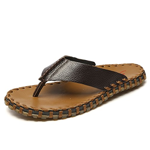 MAC Go Flop Dark Skid Wear Flip Genuine U Leather Beach Non On Mens Sandals The Thongs Brown Outdoor gwqUCU8d