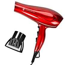 JINRI 1875W DC Motor Salon Ionic Ceramic Hair Dryer with 2 Speed and 3 Heat Settings Cool Shot Button Red