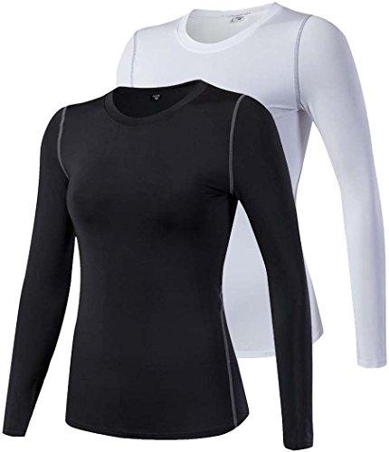 ChenHang Womens Comfort Long Sleeve T-Shirt Underscrub Tee (2 Pack Black White, S)