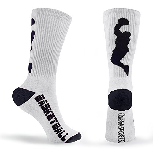 Athletic Half Cushioned Crew Socks | Basketball Player Design | White