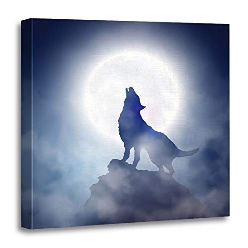 Emvency Canvas Wall Art Print Fog Blue Werewolf Wolf Howling at The Moon 10 Artwork for Home Decor 16 x 16 Inches