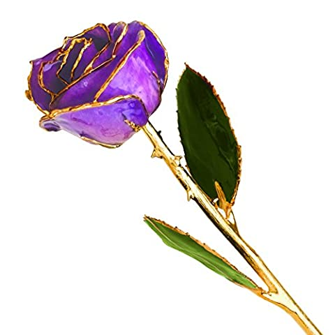 Long Stem Dipped 24K Gold Trim Purple Genuine Rose In Gift Box
