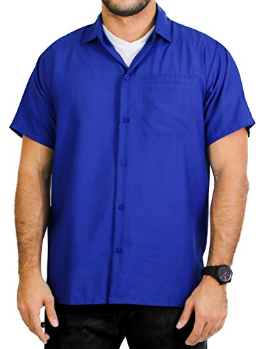 (LA LEELA Rayon Casual Solid Plain Camp Shirt Royal Blue 6XL | Chest 68