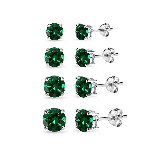4 Pair Set Sterling Silver Simulated Emerald Round Stud Earrings for Women, 3mm 4mm 5mm 6mm ()