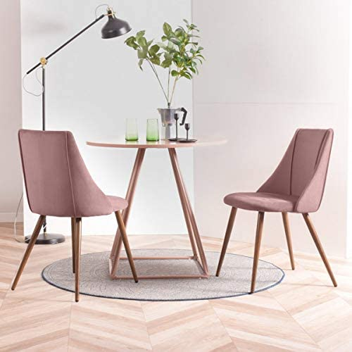 Geniqua 2 Dining Room Side Accent Chair Pink Set Mid Century Modern Kitchen Velvet Upholstered Fabric No Arm Leisure Sitting