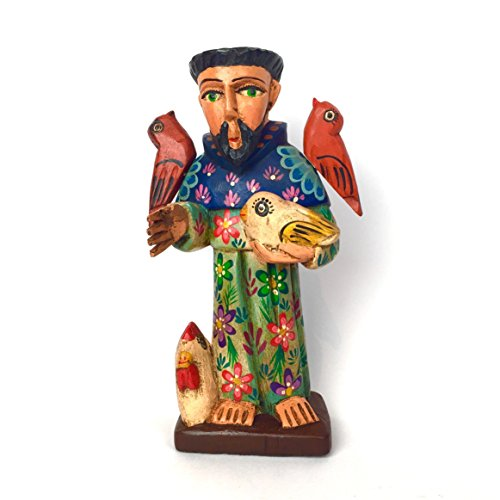 Altiplano San Francisco Fino Patron Saint of Animals Hand Carved Statue Made in Guatemala Wood Carved Folk Art
