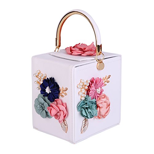Women's Clutches Beaded Floral Box Evening Bag Wedding Party Purse (white)