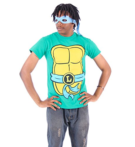 TMNT Teenage Mutant Ninja Turtles Leonardo Costume Green T-shirt with Blue Eye Mask (Adult (Blue Teenage Mutant Ninja Turtles Costume)