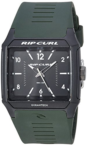 (Rip Curl Men's Rifles Quartz Sport Watch with Polyurethane Strap, Green, 23 (Model: A3038-MIL)