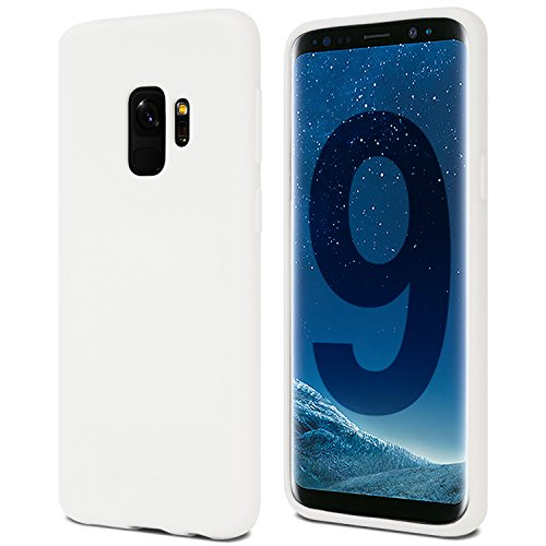 Galaxy S9 Case for Samsung Galaxy S9, [Thin Slim] GOOSPERY [Flexible] Soft Feeling Jelly [Matte Finish] Silky TPU Rubber Liquid Gel Silicone Case [Lightweight] Bumper Cover, White, S9-SFJEL-WHT