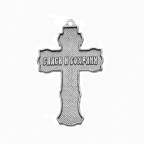 Élégant russe Orthodoxe Sauver et protéger Pendentif Croix en argent sterling