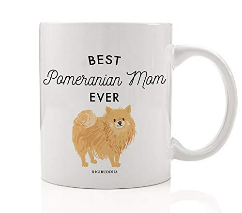Best Pomeranian Mom Ever Coffee Tea Mug Gift Idea Mother Momma Mommy Loves Furry Tan Pomeranian Family Lap Doggy Rescued Puppy 11oz Ceramic Cup Mother's Day Christmas Present by Digibuddha DM0489 1
