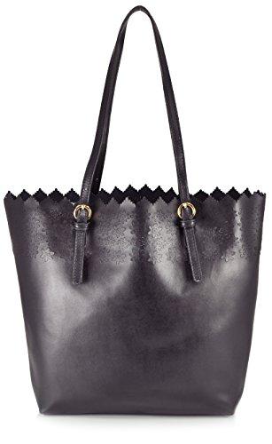 Sondra Roberts Leather Collection Bag in a Bag Floral Perforated Laser Cut Tote Shoulder Bag, Black