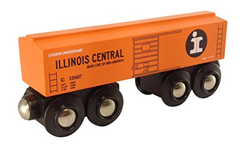 Illinois Central Orange Boxcar magnetic wooden train