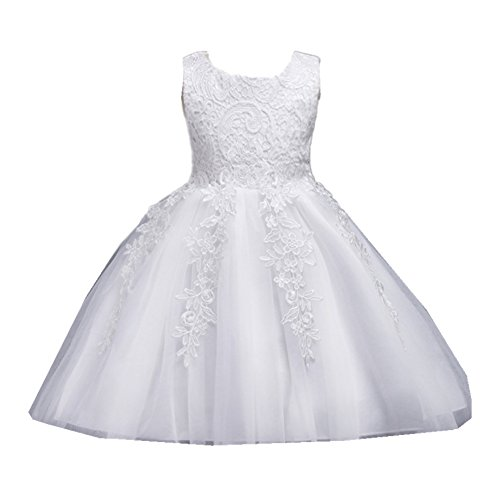 Azhido Flower Girls Dress Lace Floral Big Bowknot Sleeveless Princess Pageant Gown by (2-3T, White)