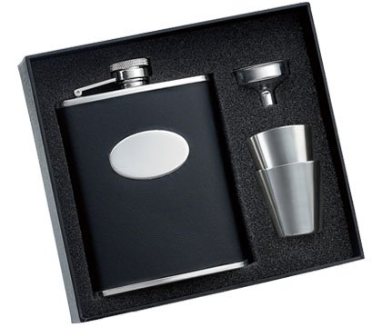 Black Bonded Leather Wrapped Flask with 2 Stainless Steel Shooters & Funnel (Black Bonded Leather Flask)