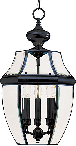 Park Traditional Chandelier - Maxim 6095CLBK South Park 3-Light Outdoor Hanging Lantern, Black Finish, Clear Glass, CA Incandescent Incandescent Bulb , 60W Max., Dry Safety Rating, Standard Dimmable, Fabric Shade Material, 2016 Rated Lumens