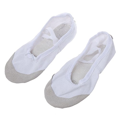 SODIAL Black 1 Ballet Gymnastics Ballet Adult Slippers Pair Of Dance Canvas Asia Practice Shoes White Leather Dance 37 Shoes EU 36 HHxqrAd