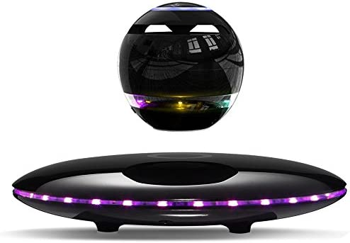 Infinity Orb Magnetic Levitating Speaker Bluetooth 4.0 LED Flash Wireless Floating Speakers with Microphone and Touch Buttons Black