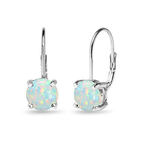 - Sterling Silver Polished Simulated White Opal 7mm Round Dainty Leverback Earrings