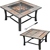 Durable And Rust-resistant 2-in-1 Malaga Square Tile Top Fire Pit/Coffee Table, Multicolor