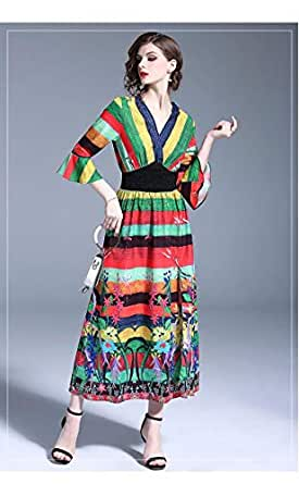YnD Multi Color A Line Maxi Dress For Women