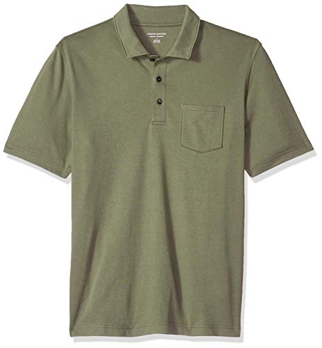 Amazon Essentials Men's Regular-Fit Pocket Jersey Polo, Olive, X-Small ()
