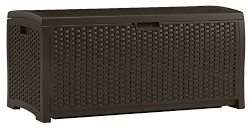 Suncast 73 Gallon Resin Wicker Patio Storage Box - Waterproof Outdoor Storage Container for Toys, Furniture, Yard Tools - Store Items on Deck, Porch, Backyard - Mocha