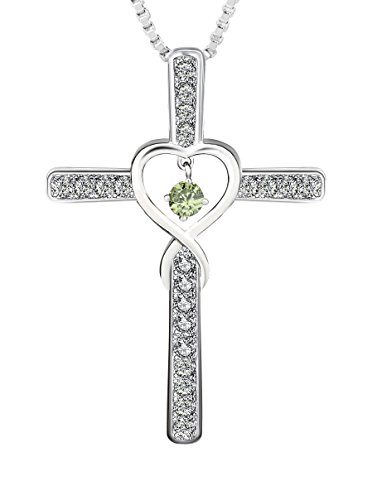 August Birthstone Pendant (Ckysee Cross Cubic Zirconia Infinity Love Heart Birthstone Pendant Necklace for Women Girls August- Peridot)