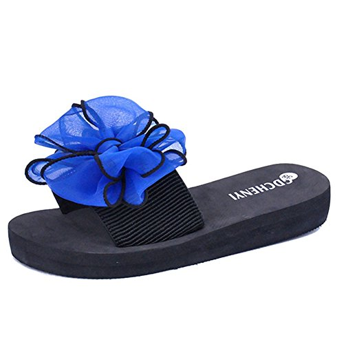 T-july Womens Summer Slippers Bow Tie Girls Flat Beach Sandali Antiscivolo Blu