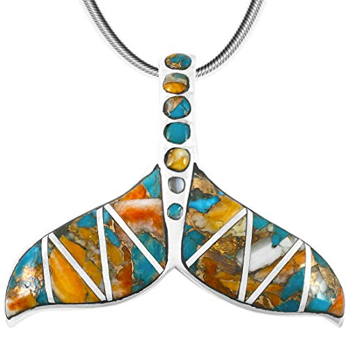 Whale Tail Pendant Necklace in 925 Sterling Silver & Genuine Turquoise (20