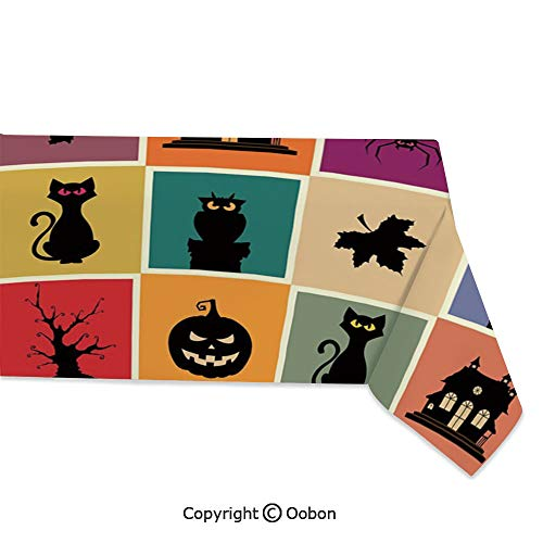 oobon Space Decorations Tablecloth, Bats Cats Owls Haunted Houses in Squraes Halloween Themed Darwing Art Decorative, Rectangular Table Cover for Dining Room Kitchen, W60xL104 inch]()