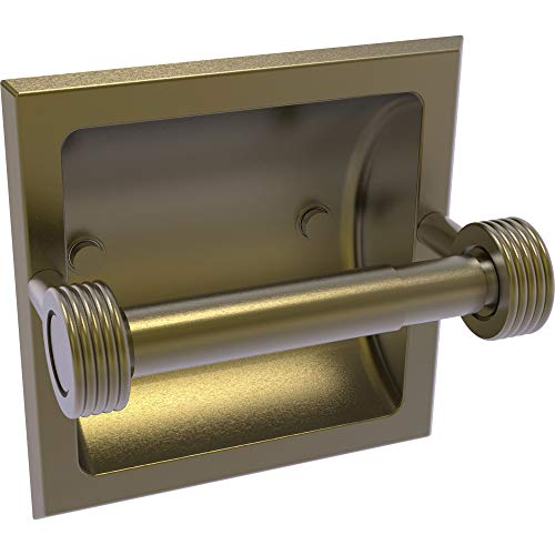 Allied Brass 2024-CG-ABR Continental Collection Recessed Toilet Tissue Holder with Groovy Accents, Antique Brass