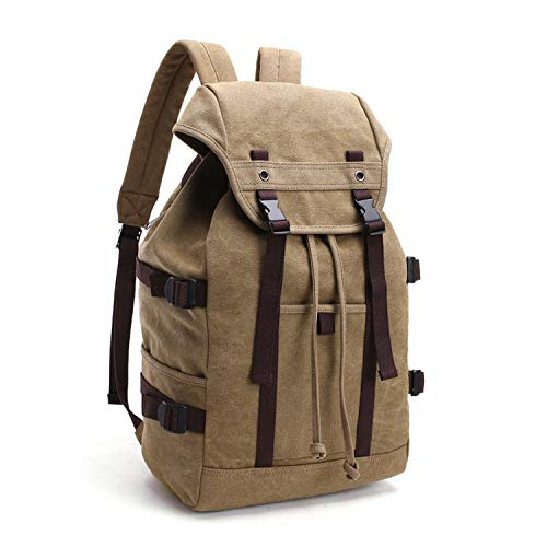 d368579fff58 Love & Freedome Men Travel Backpack Mens Vintage Canvas Drawstring Backpack  Large Capacity Student School Bag