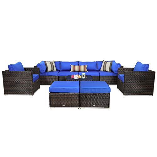 Patio Furniture Rattan Sofa 9-Piece Outdoor Sectional Couch Brown Wicker Conversation Seating Set Porch Deck Sofa Royal Blue Cushion