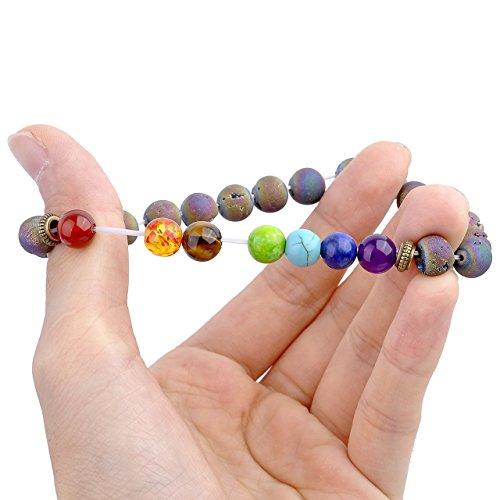 Top Plaza 7 Chakra Bracelet W/Real Stones Energy Healing Crystal Yoga Meditation Balance Semi Precious Gemstone Beads