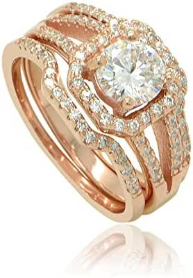Sterling Silver 18k Rose Gold Flashed Round Cut Cubic Zirconia Halo Square Set of 3 Stacking Ring