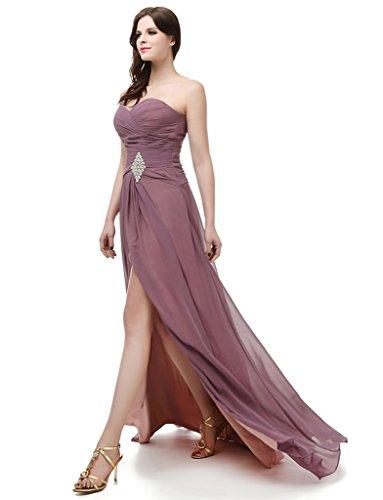 2016 Sera Sweetheart Abito Ysmo nbsp;lungo Laterale Donna Purple Perline Spacco Per Prom Da Chiffon UqUvZIP