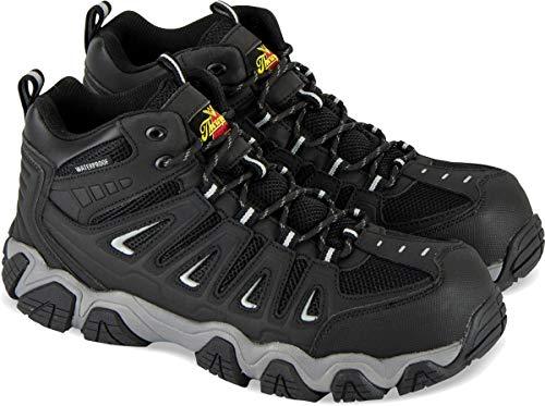 Thorogood 804-6292 Men's Crosstrex Series - Mid Cut Waterproof, Composite Safety Toe Hiker, Black/Grey - 11.5 M - Safety Waterproof Wellington Toe